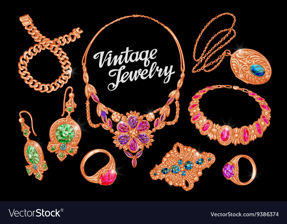 Jewelry precious metal gold silver and gems vector