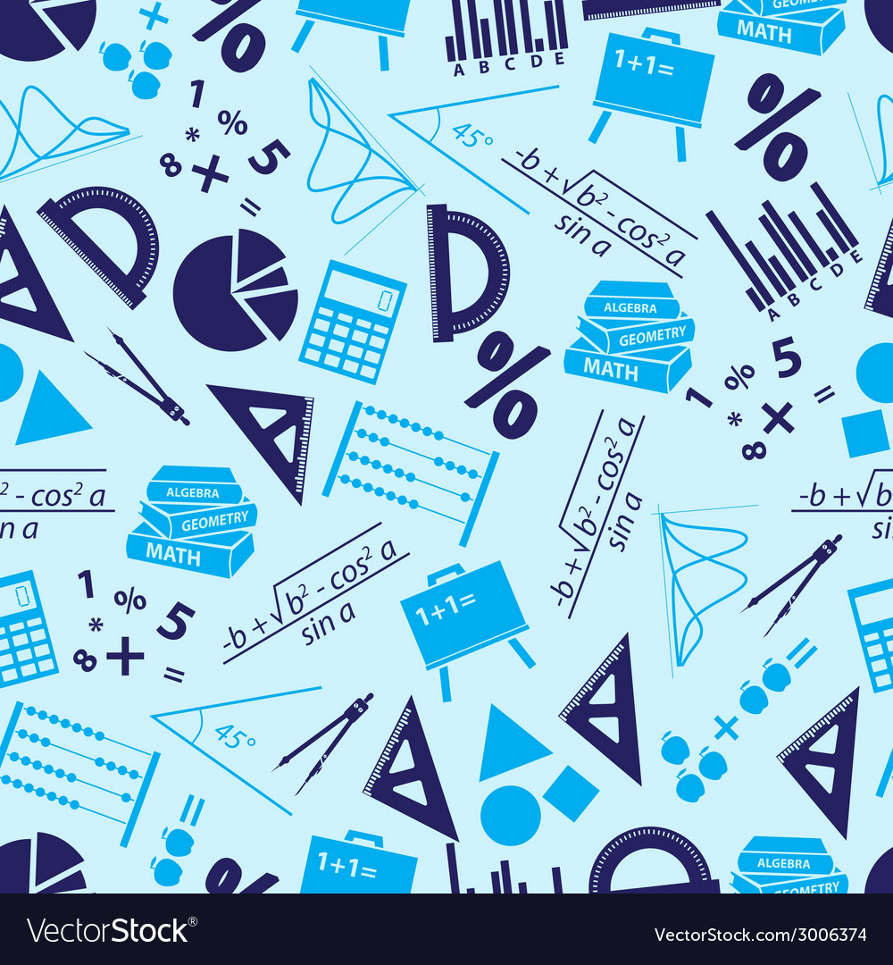 Mathematics icons blue seamless pattern eps10 vector