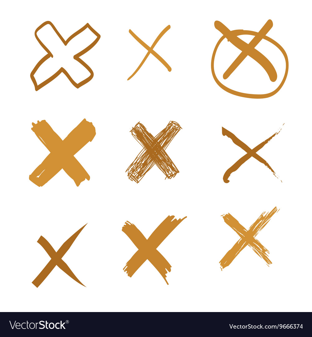 Set of handdrawn cross doodle gold vector