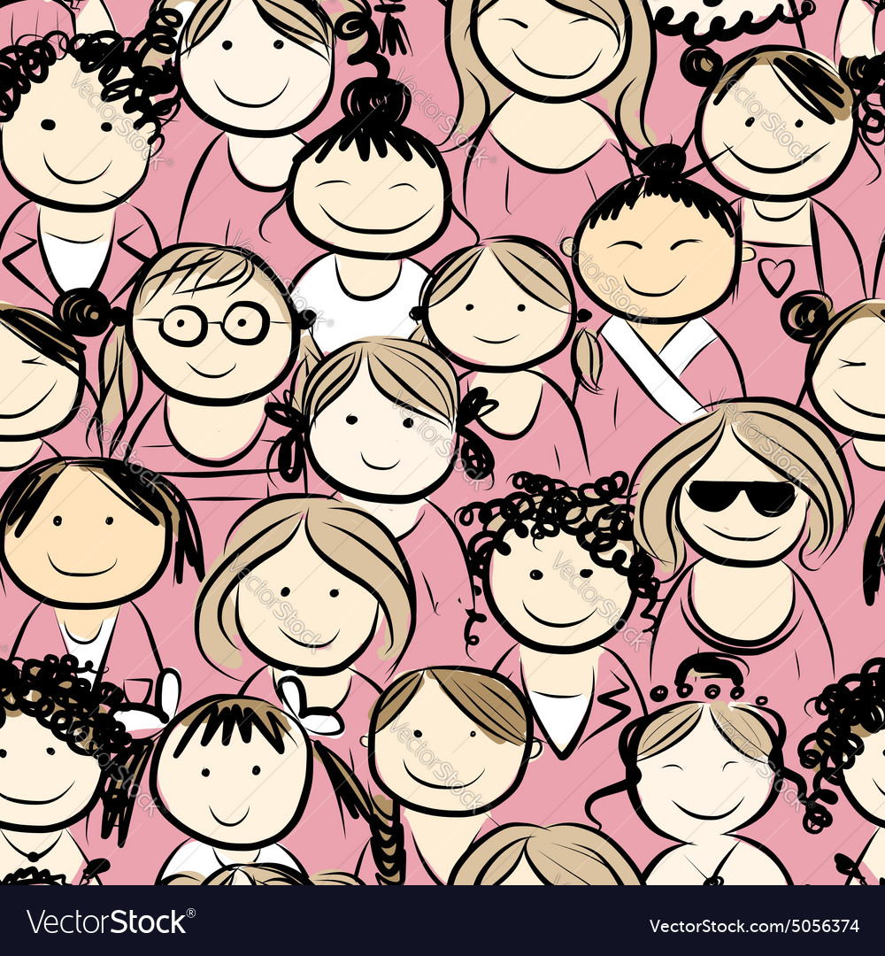 Women crowd seamless pattern for your design vector