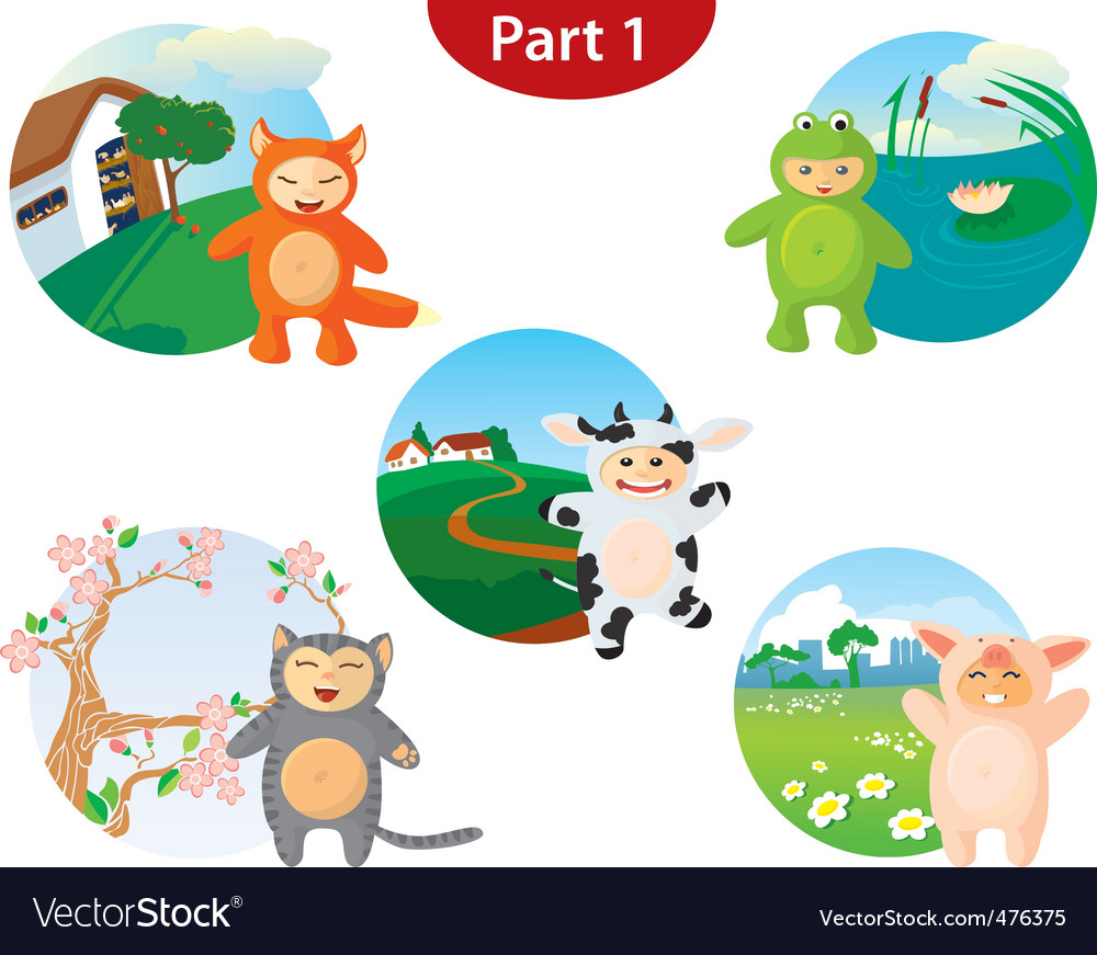 Animal costume set vector