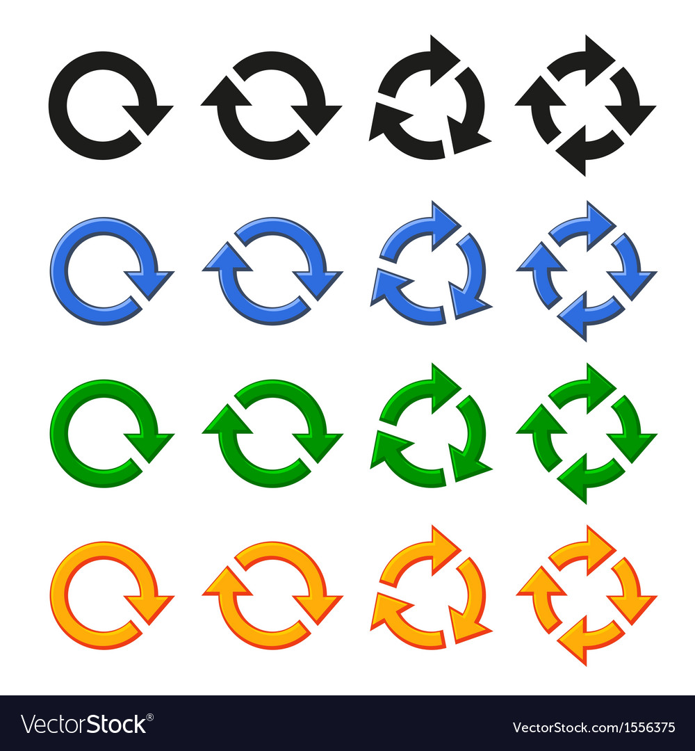 Four arrow rotation set vector