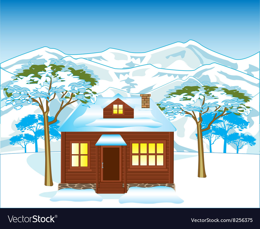 House in winter wood vector
