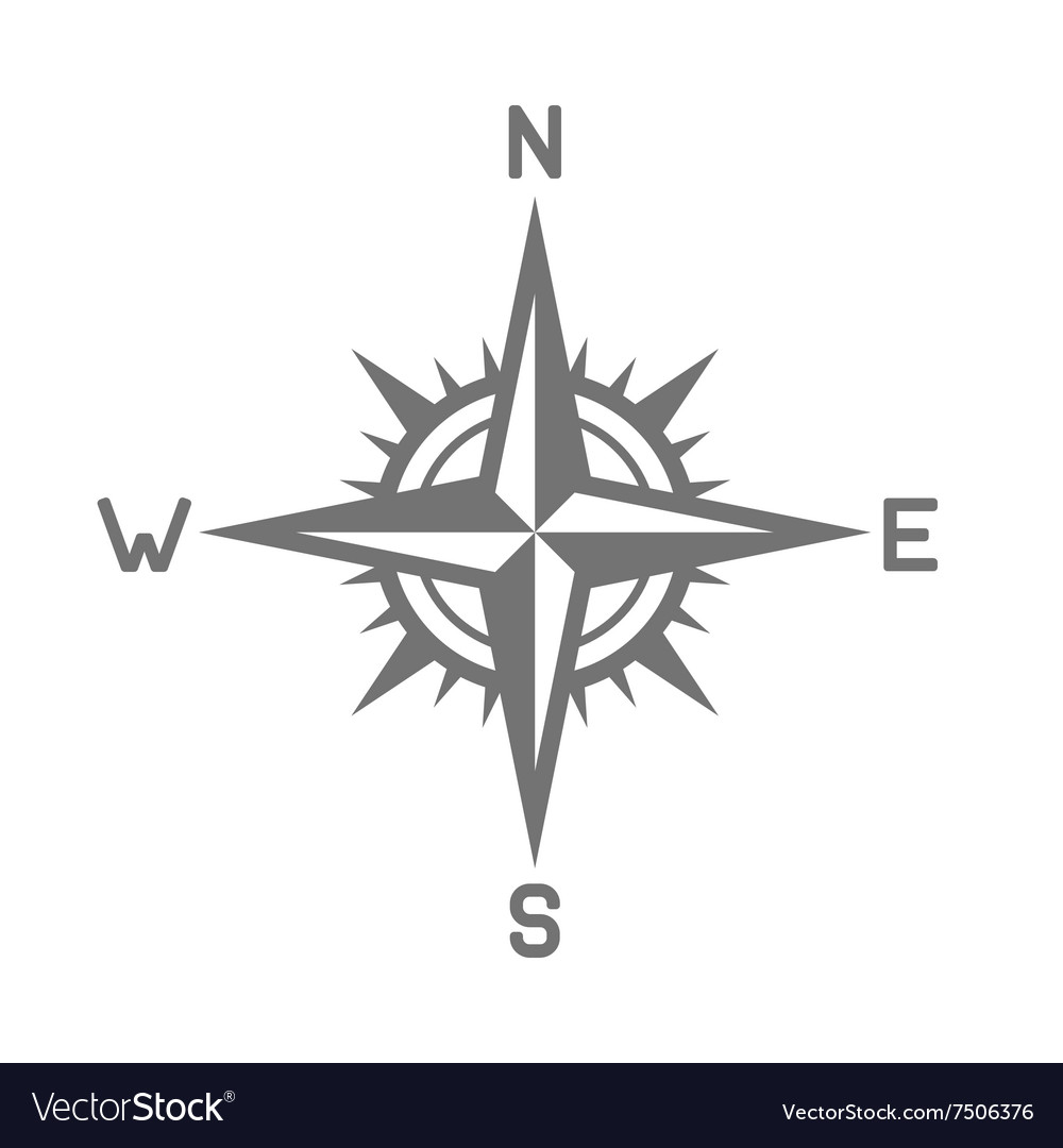 Compass icon on white background vector