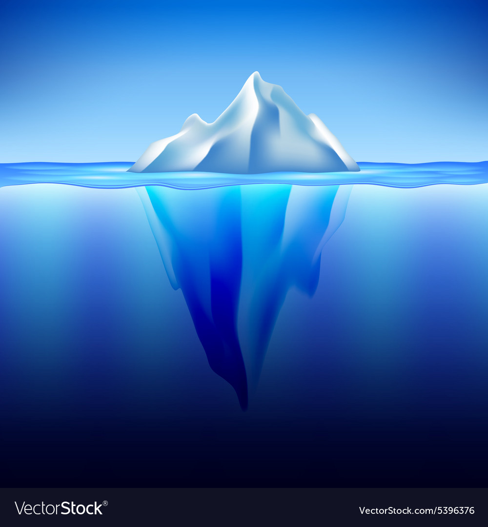 Iceberg in water background vector