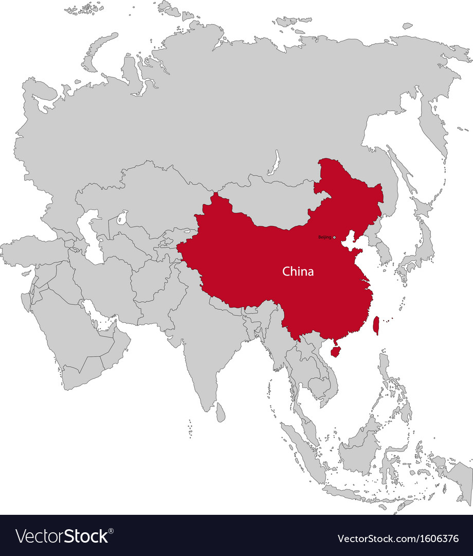 Location of china vector