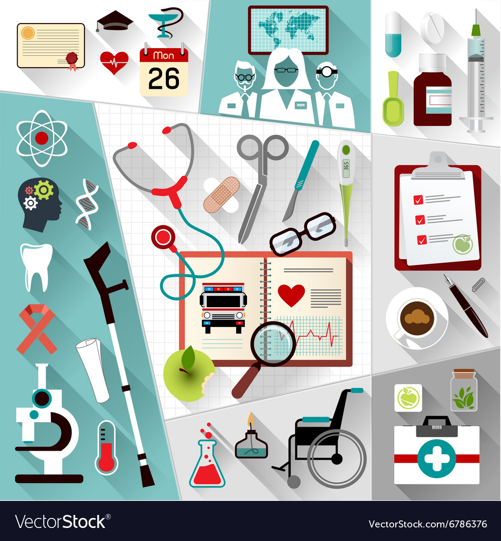 Set of medical flat design concept icons for web vector