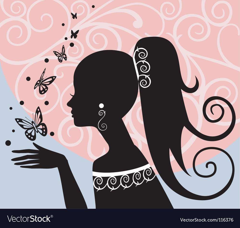 Woman with butterflies vector