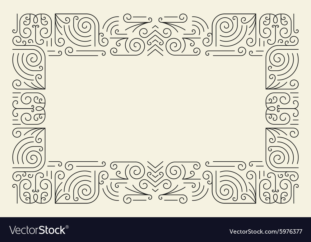 Mono line frame simple certificate border vector