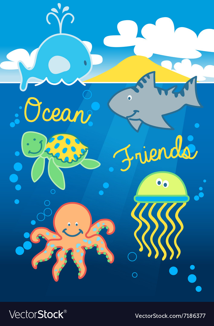 Ocean friends swimming under the sea with island vector