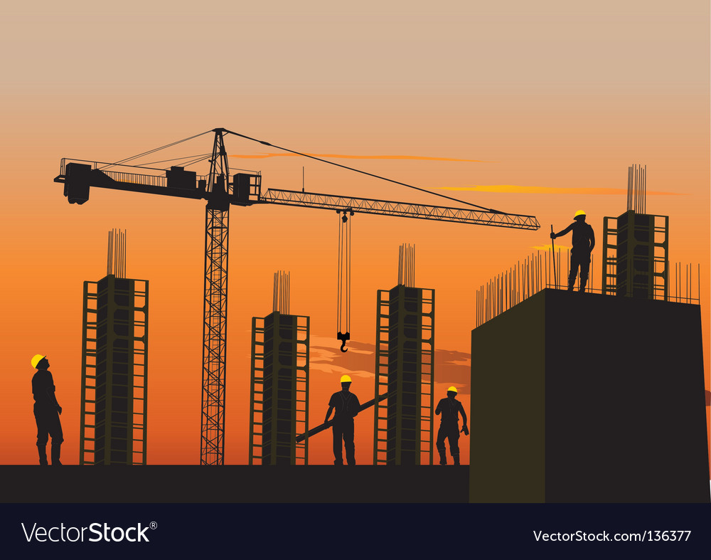 Silhouette of construction site vector