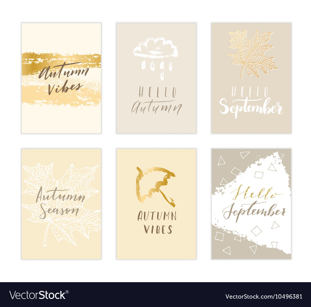 Autumn card collection vector