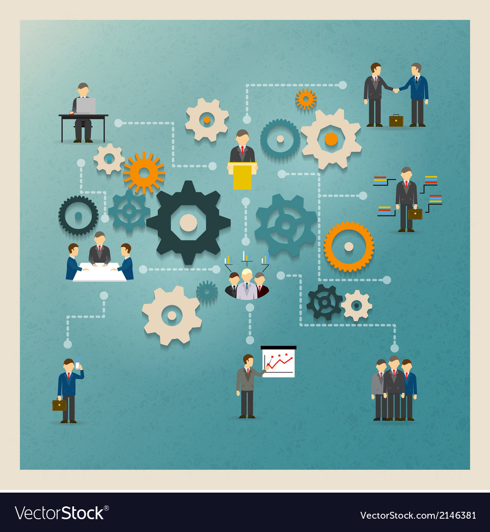 Business gears infographics vector