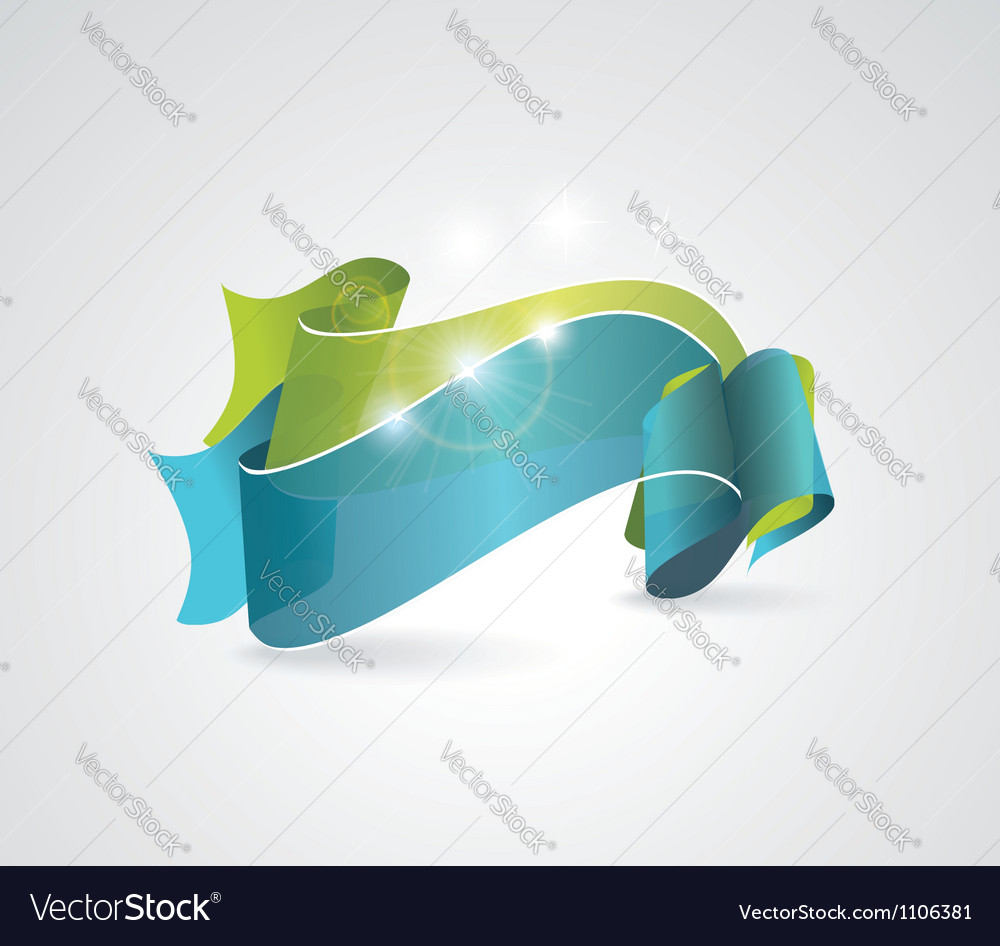 Green and blue transparent ribbons vector