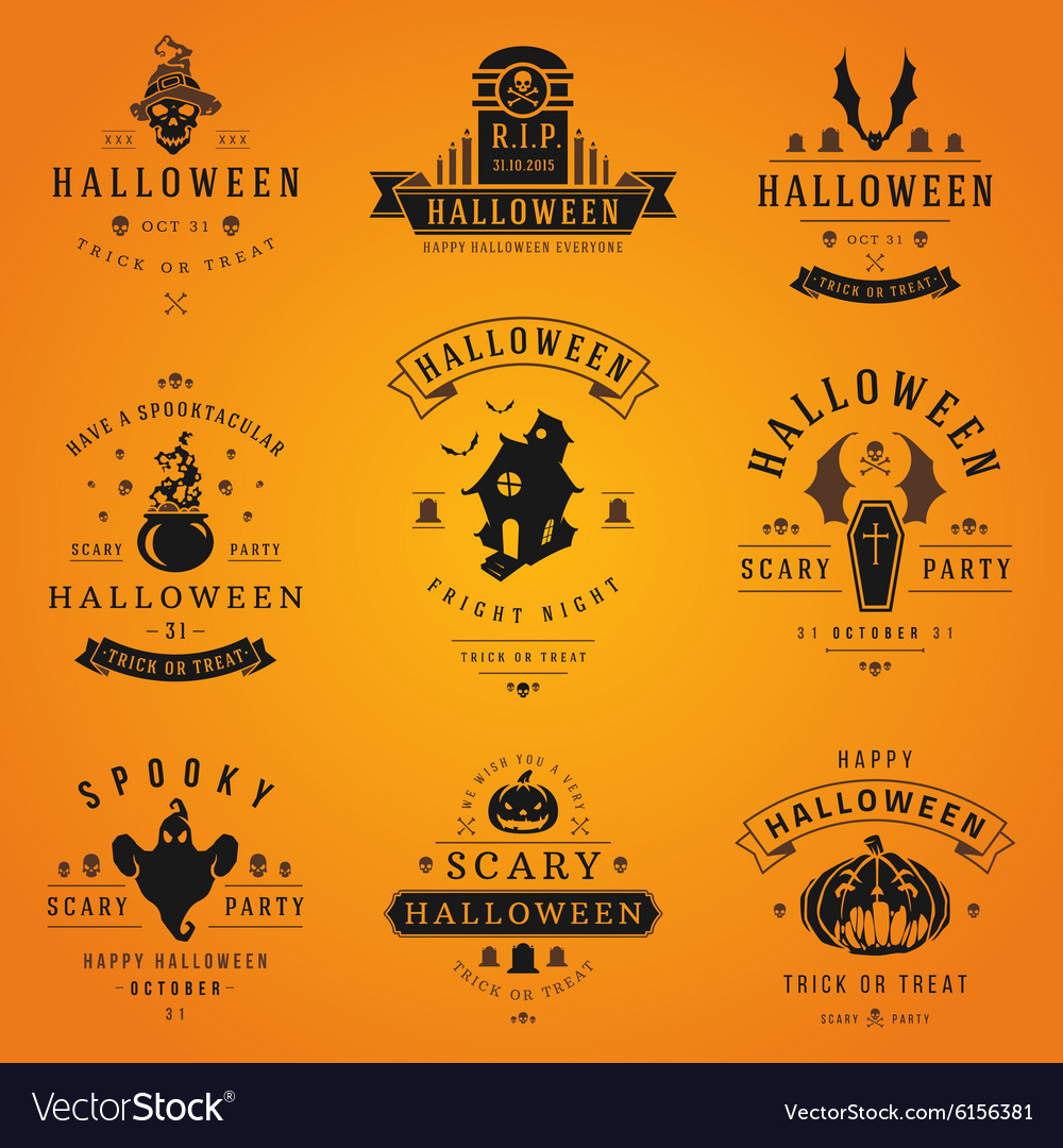 Happy halloween day labels and badges vector
