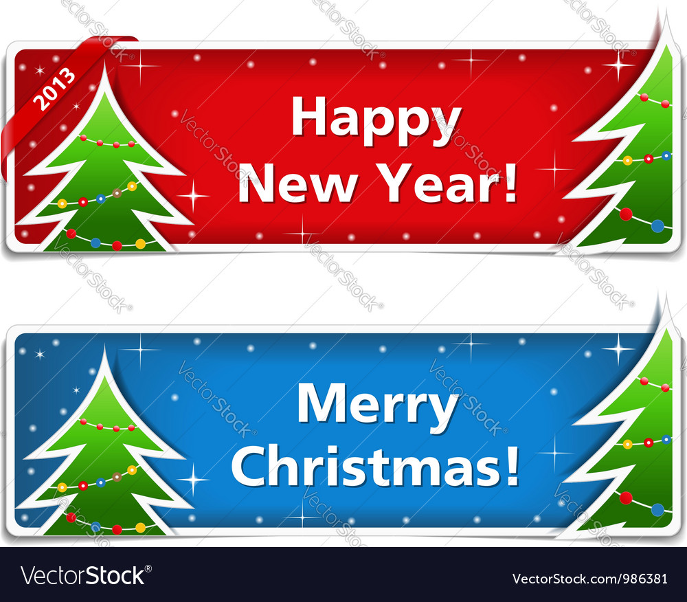 New year and christmas banners eps10 illus vector