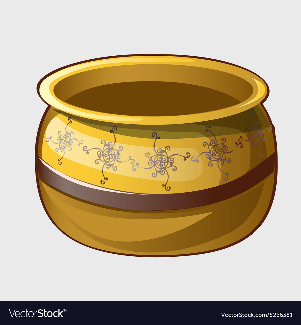 Vintage yellow pot with flower pattern vector