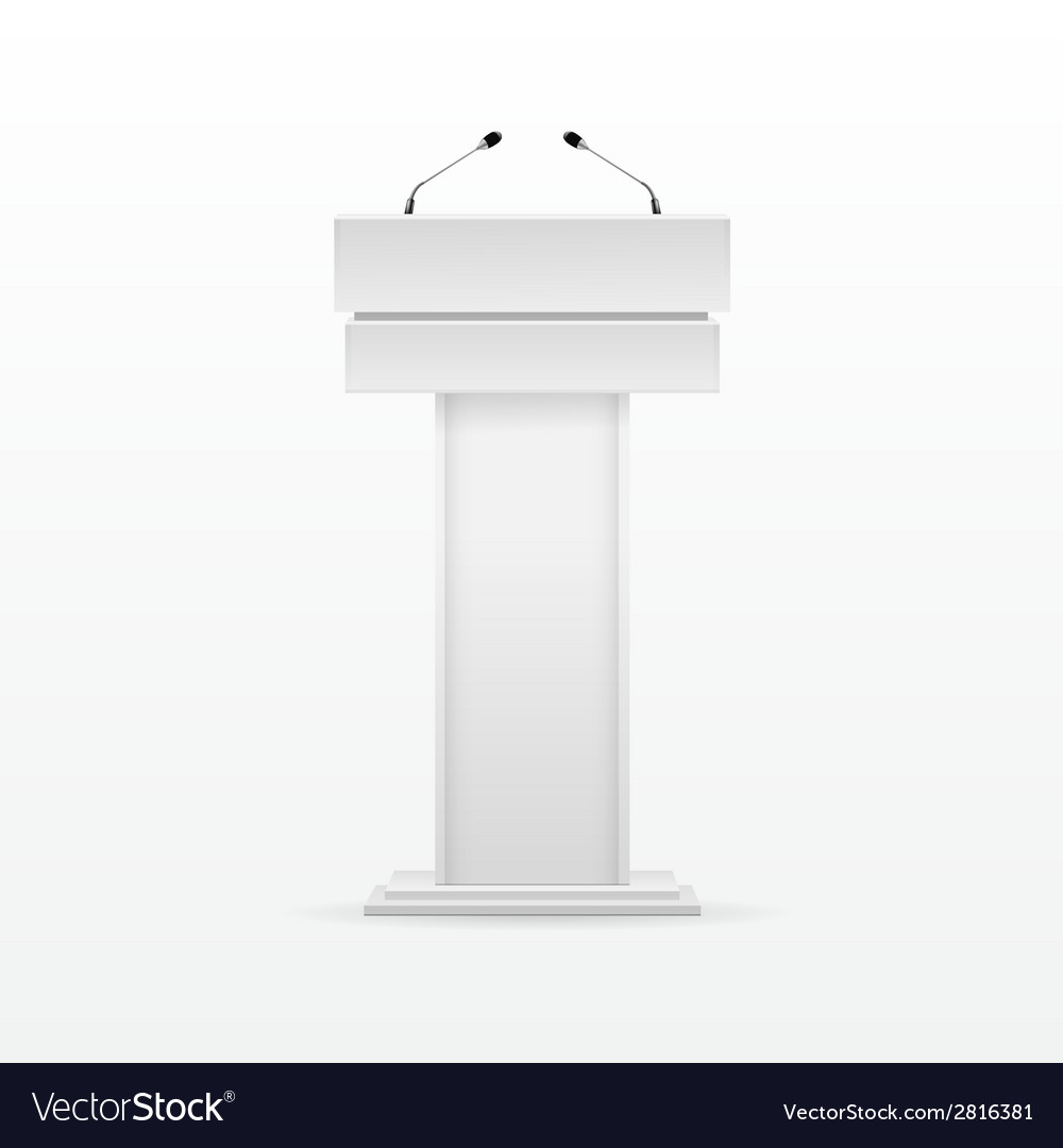 White podium tribune rostrum stand with microphone vector