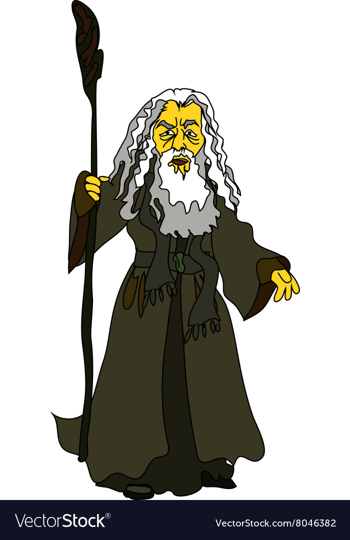 A whitehaired old man with a stick in rags vector