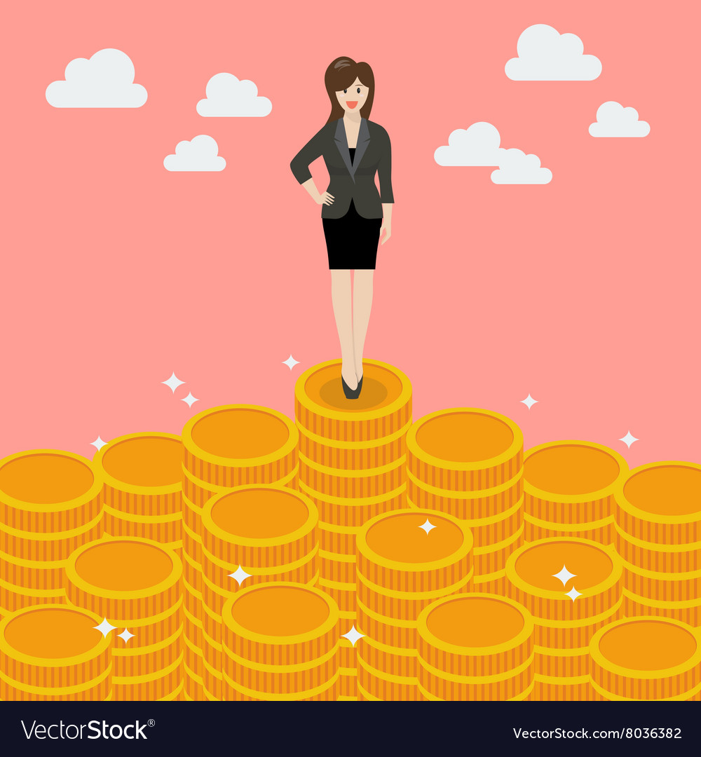 Business woman standing on money vector