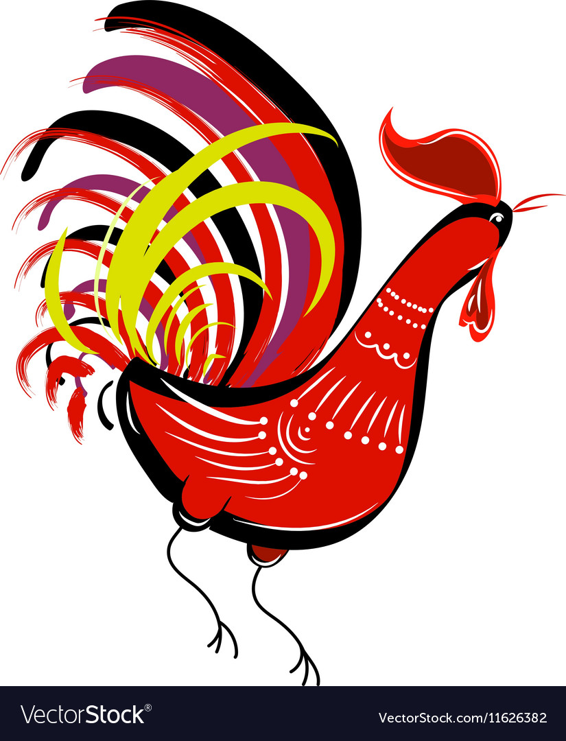 Color fire cock on white background looking at vector