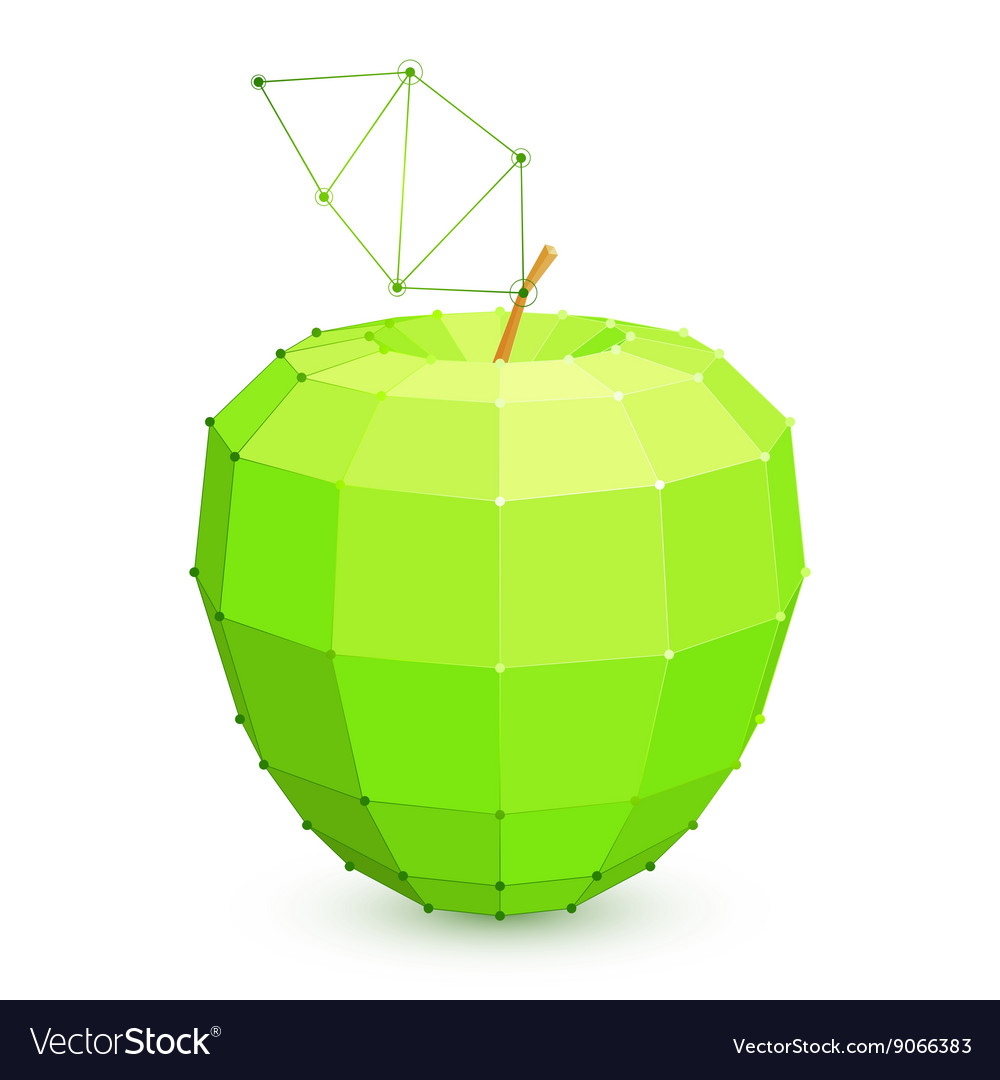 Geometric green apple vector