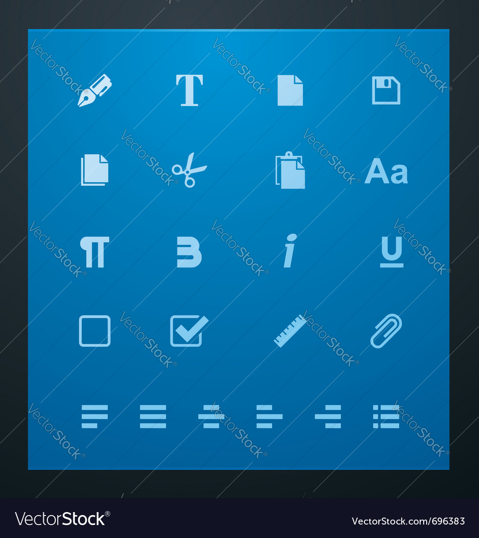 Universal glyphs 6 text editing vector