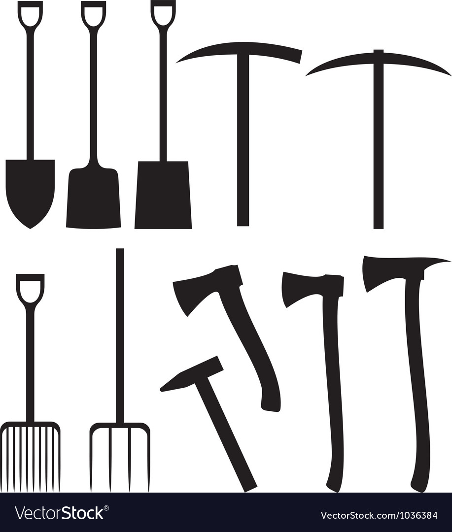 Collection of garden instruments silhouettes vector