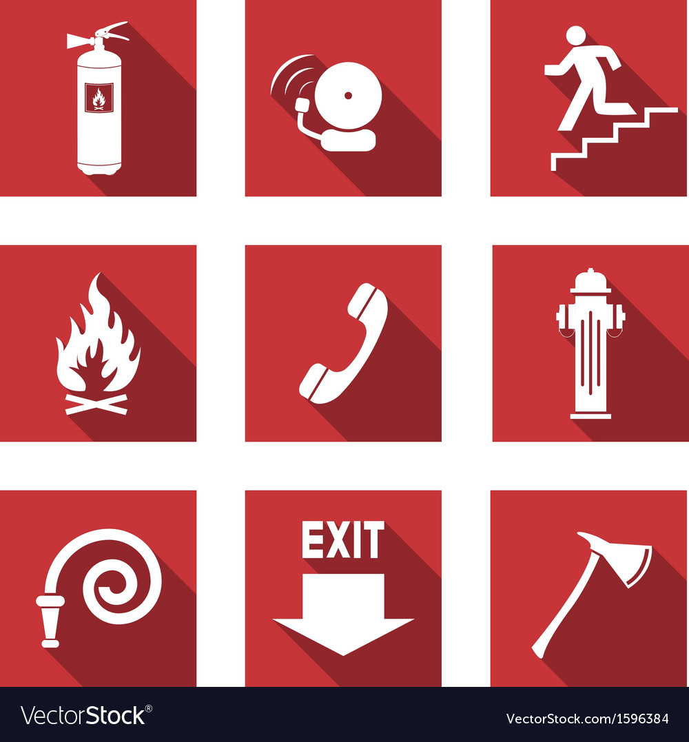 Fire signs flat vector