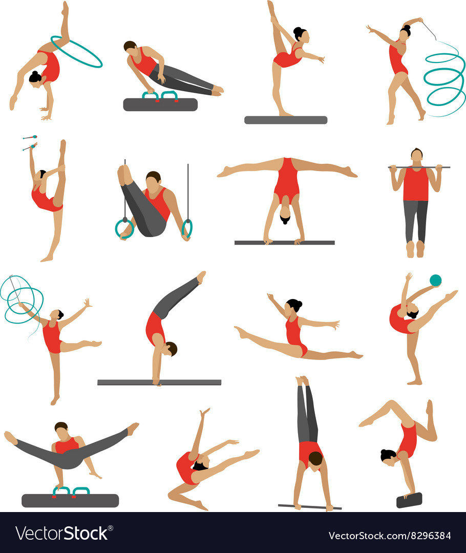 Set of people in sport gymnastic positions vector