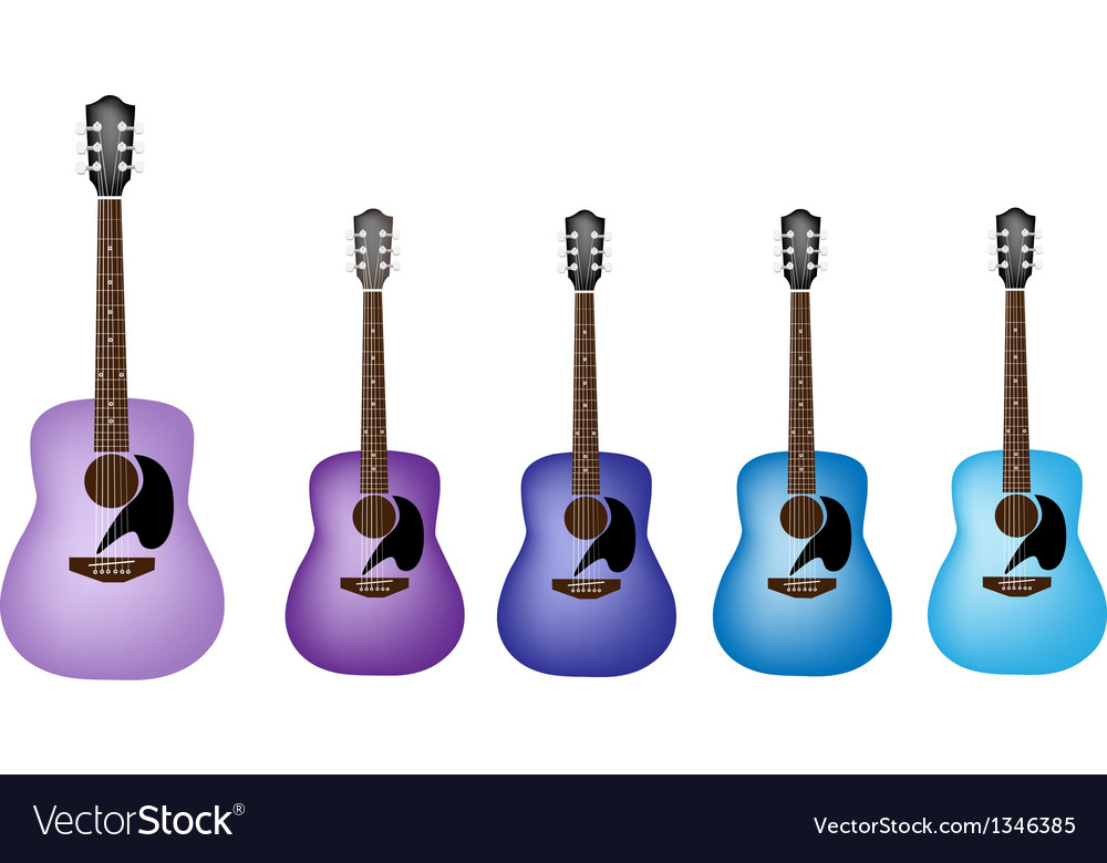 Blue and purple colors of acoustic guitars vector