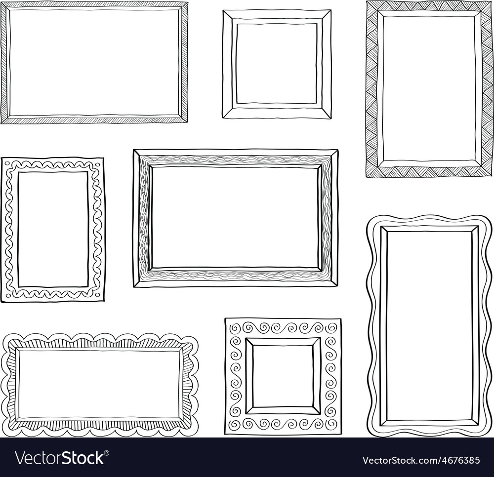Set of vintage photo frames hand drawn vector