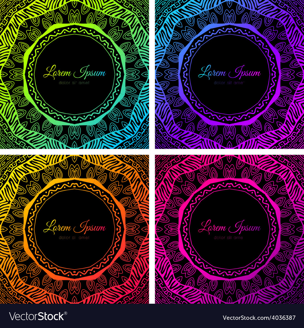 Bright colorful neon doodle circle frame vector