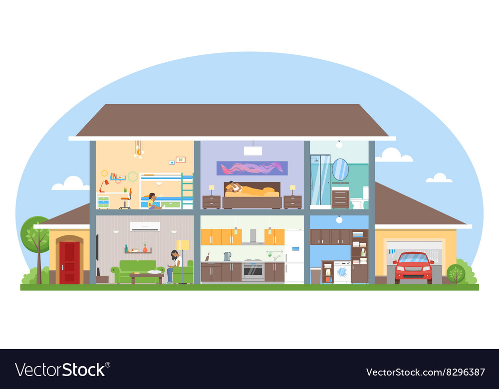 Home interior with room furniture vector
