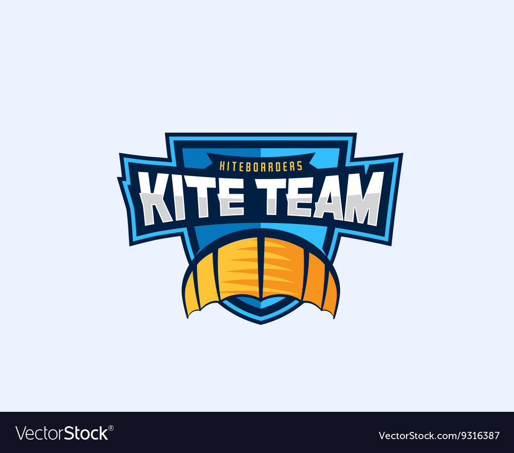 Kiteboarding team sport emblem kite symbol on a vector