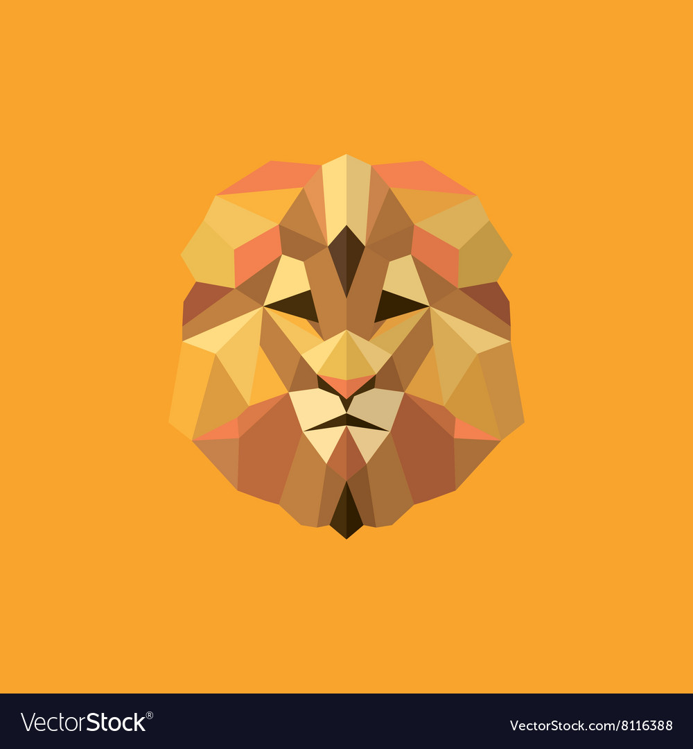 Lion golden orange mane low poly style of modern vector