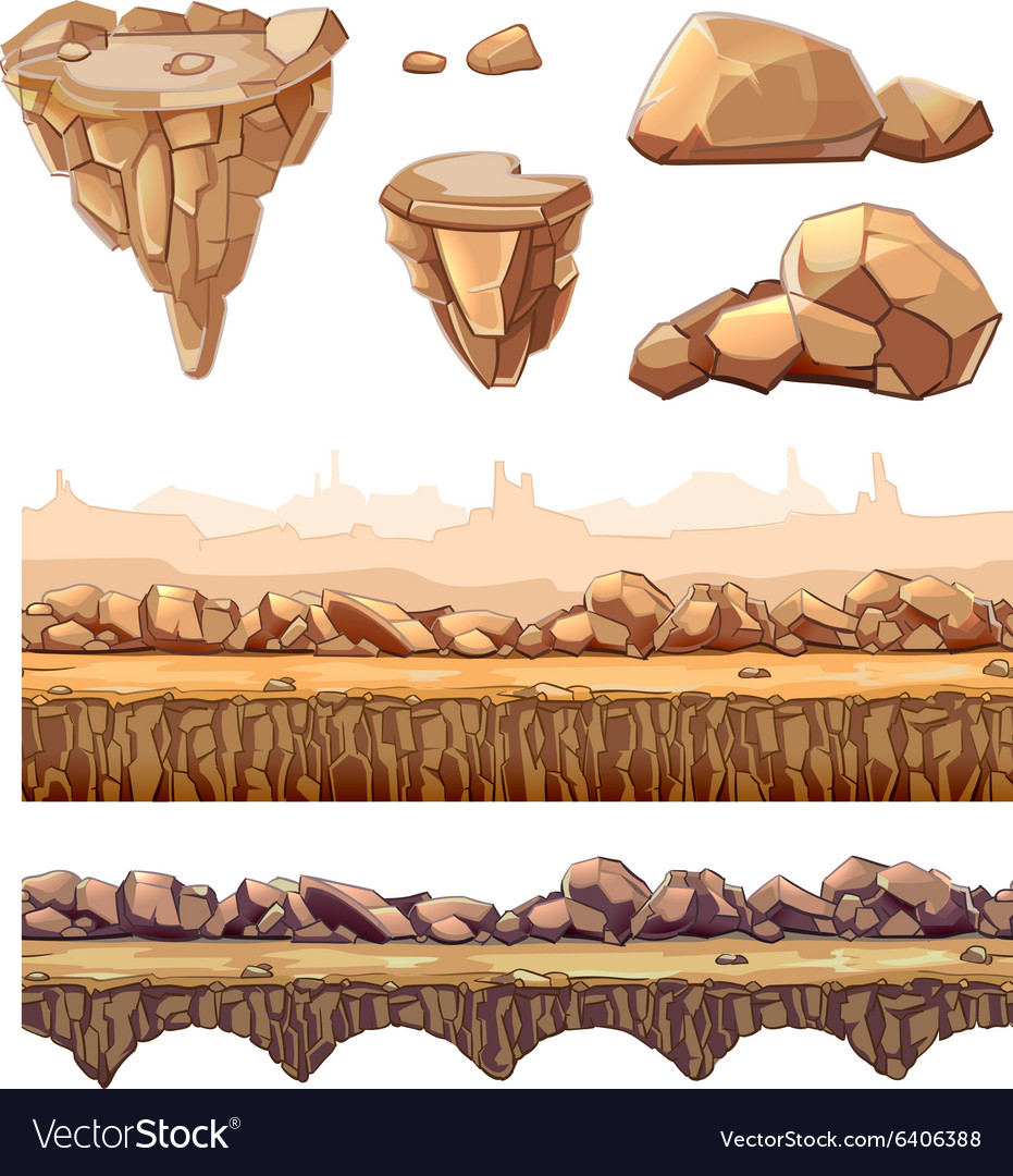Seamless cartoon stones and bridge for game design vector