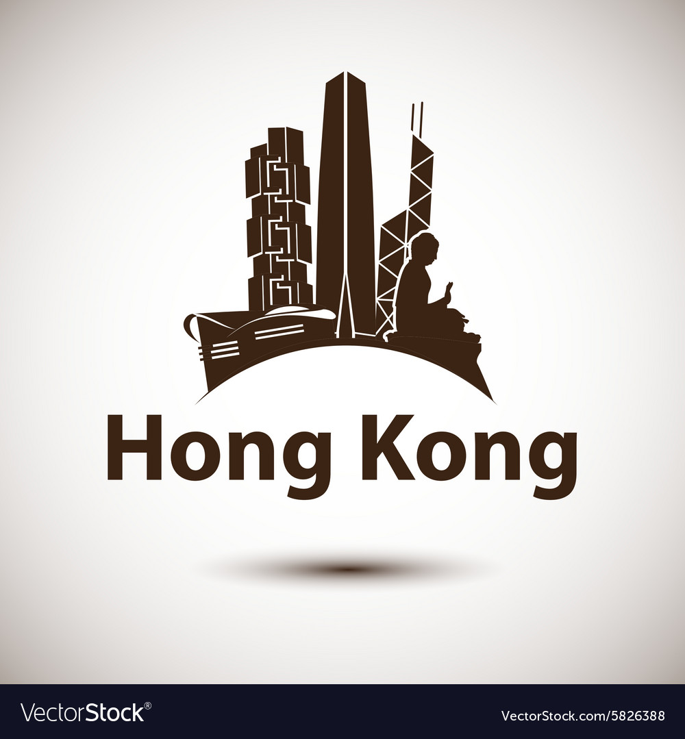 Silhouette of hong kong vector