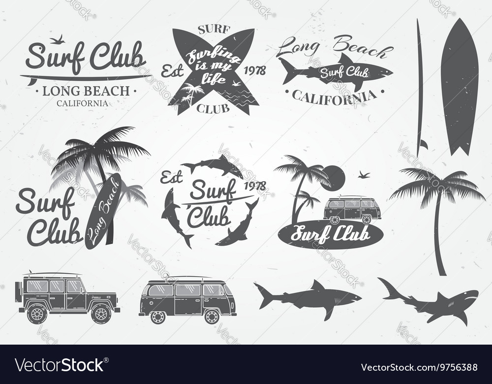 Surf club emblem retro badge and design elements vector