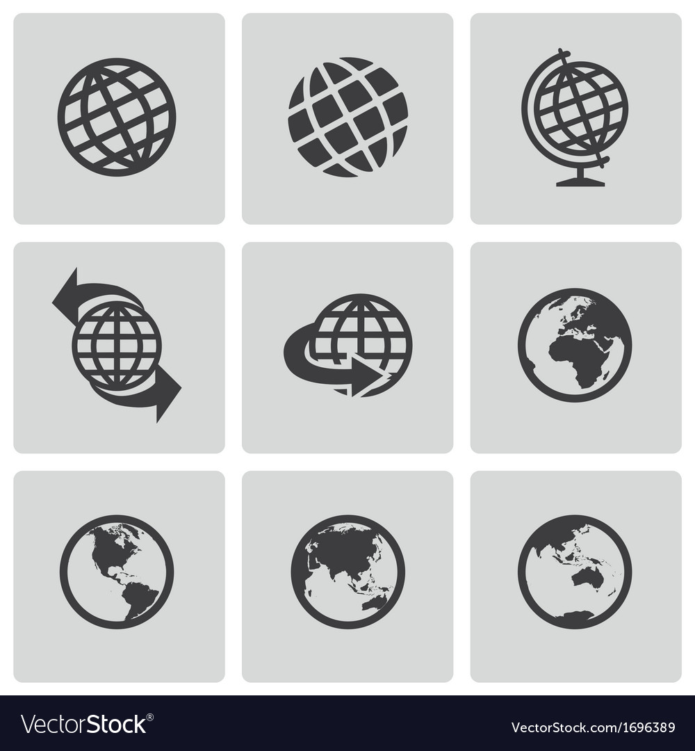 Black globe icons set vector