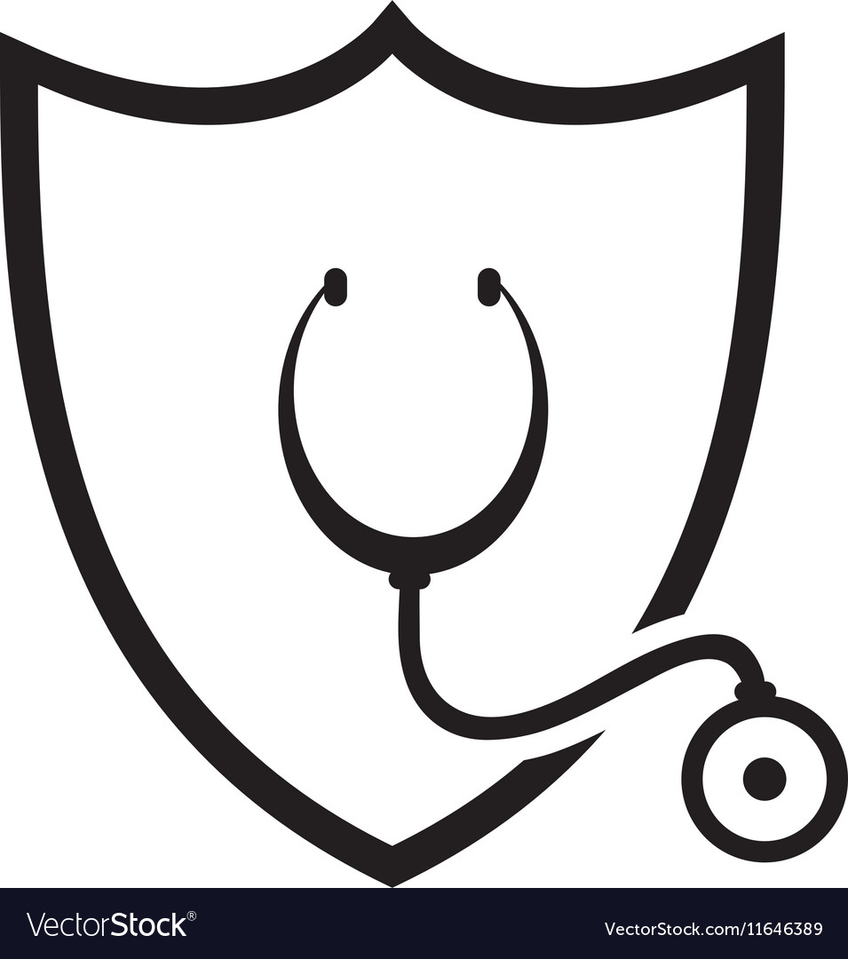 Shield and stethoscope icon vector