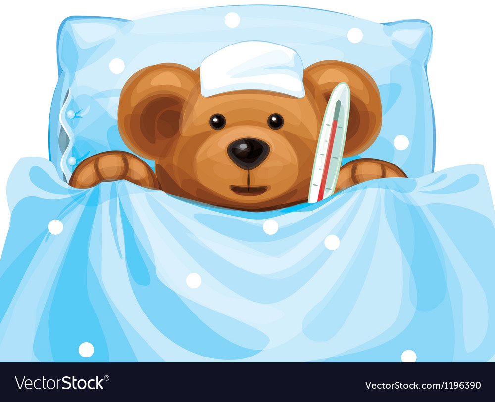 Sick baby bear vector