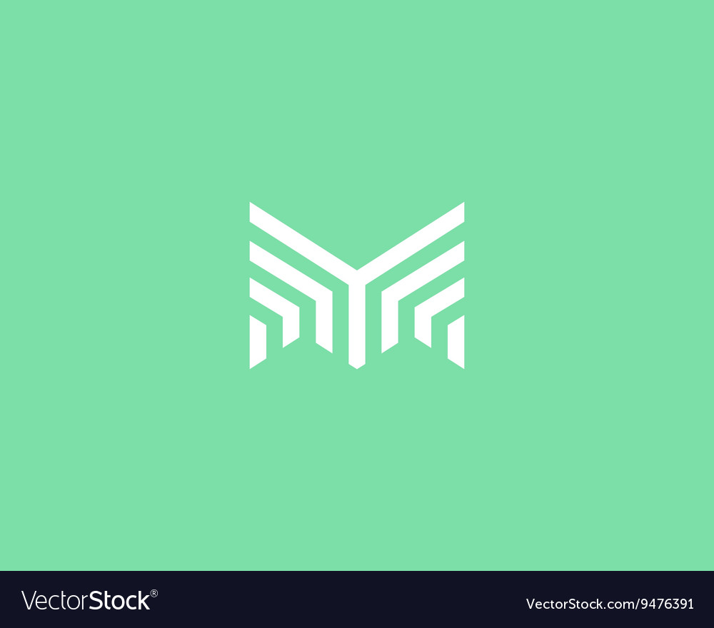 Line letter m logotype abstract moving airy logo vector