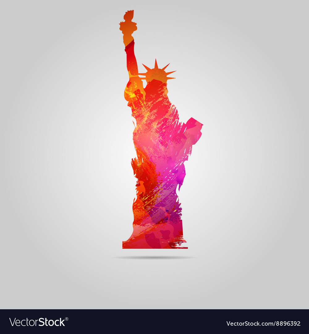 Watercolor statue of liberty icon vector