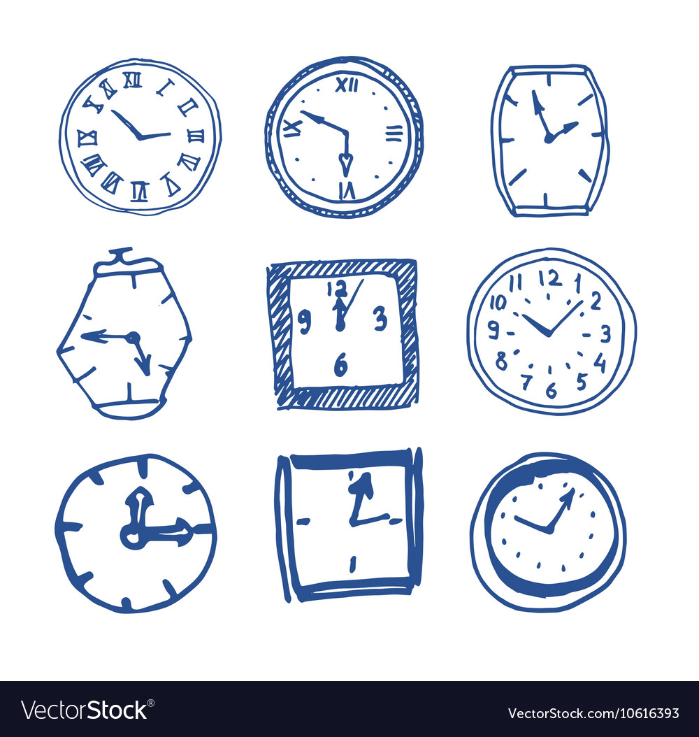 Hand drawn clocks vector