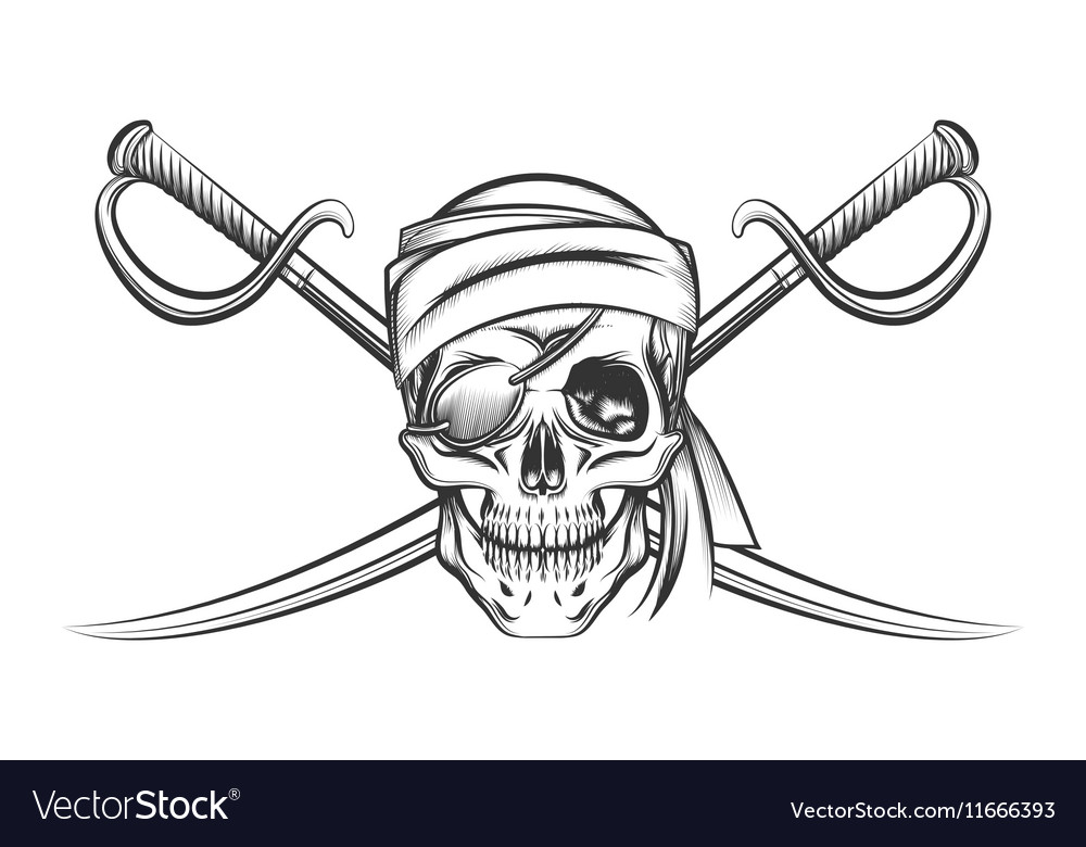 Pirate skull and two crossing swords vector