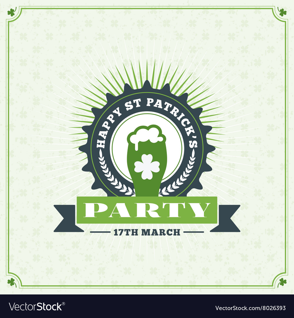 St patricks day vintage holiday badge design vector