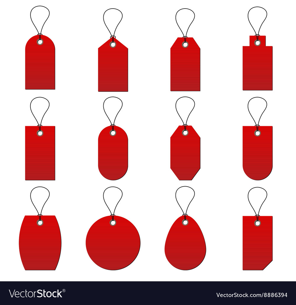 Collection of red price tag on white background vector