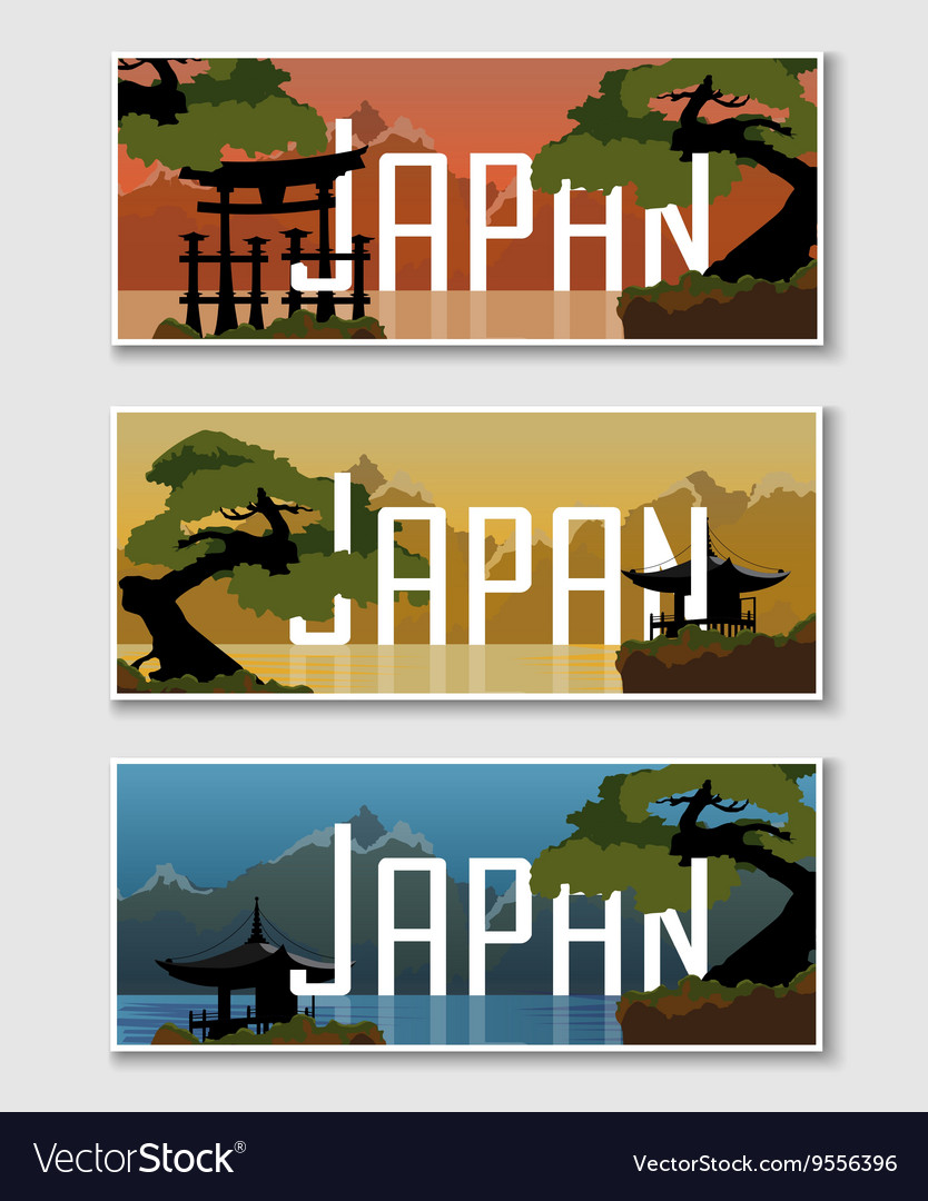 Set japanese web banner vector
