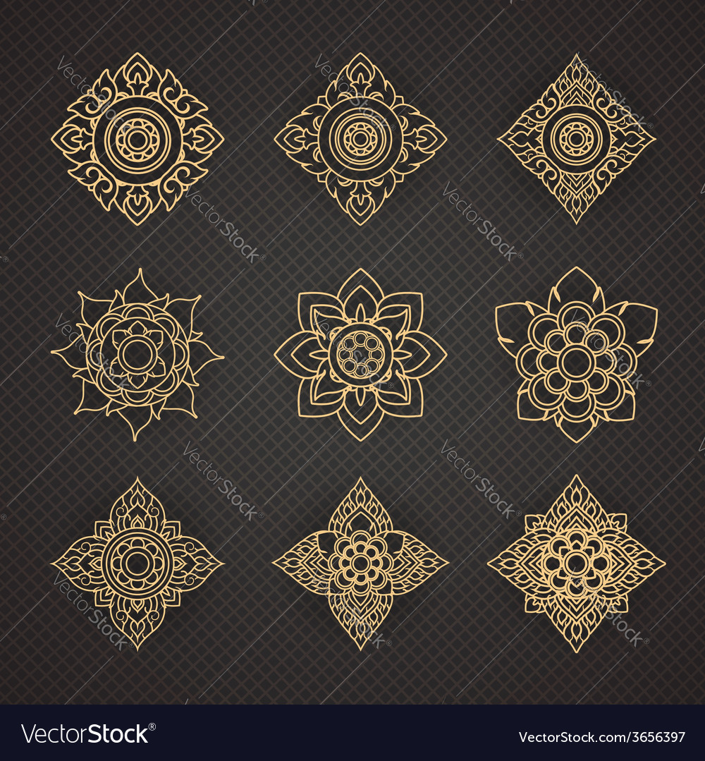 Set of thai art design vector